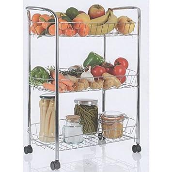 Küchenrollwagen für Gemüse, verchromt, verfeinert, Metall, 3 ...