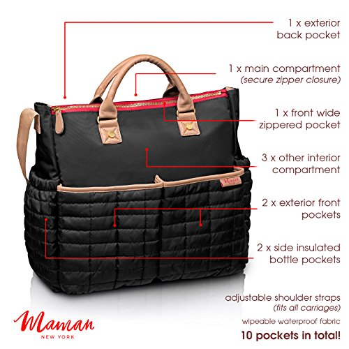 Diaper Bag- by Maman - with Matching Changing Pad - Stylish Designer Tote for Moms - for Baby Boys and Girls - DESIGN PATENT PENDING