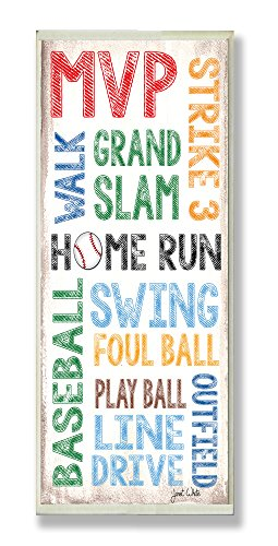 (The Kids Room by Stupell Home Run Baseball Typography Rectangle Wall Plaque, 7 x 0.5 x 17, Proudly Made in)