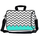 """Kitron (TM) 16 17""""-17.3 Inches Cute Colorful Cross Stripe Design Water Resistant Neoprene Sleeve Notebook Neoprene Messenger Case Tote Bag with Handle and Carrying Strap"""