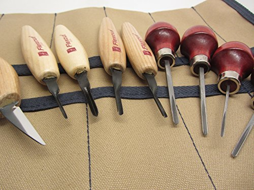 Micro Parting Tool - Flexcut MT 700 Micro 60 Parting tools Detail Knife KN13 Ramelson 4 V Palm Tools 9 Pocket Canvas Tool Roll