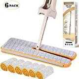 YONILL Double Sided Mop, Self Wringing Lazy Mop Professional 360 Automatic Squeezee Microfiber Flip Mop Wet & Dry Hardwood Cleaning (A Total 6 Mop Cloth)