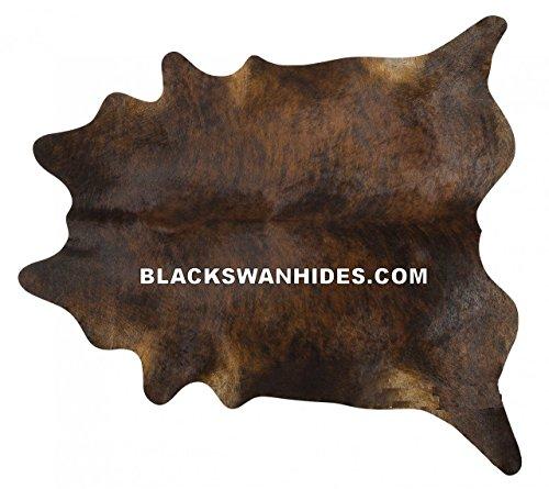 Dark Brindle Brazilian Cowhide Rug Cow Hide Skin Leather Area Rug - by BlackSwanHides (Brazilian Cowhide Rugs)