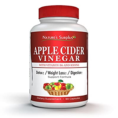 Nature's Surplus Extra Strength Apple Cider Vinegar Capsules, Supports Weight Loss, Lowers Bad Cholesterol, Aids Detox-Cleanse, Metabolism & Digestion, Improves Heart Health, Apple Cider Vinegar Pills