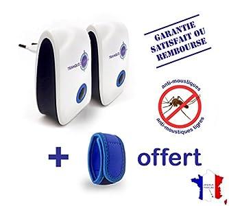 tranquilisafe lot de 2 r pulsifs ultrason anti moustiques et moustiques tigres efficace et. Black Bedroom Furniture Sets. Home Design Ideas