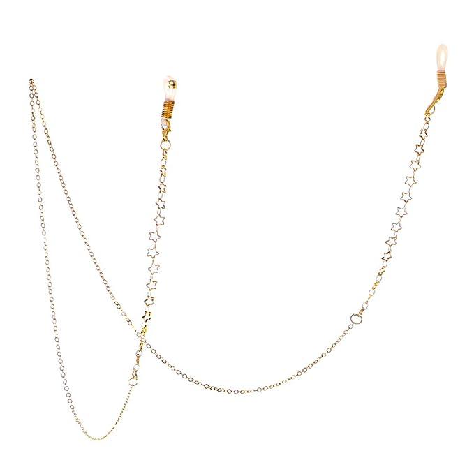 Hibote Brillenkette Perlen Brille Schnur Sonnenbrille Lanyard Retainer Strap Gold