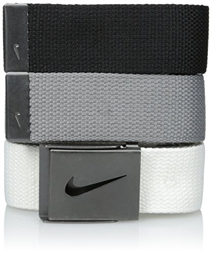 Nike Men's 3 Pack Golf Web Belt, White/gray/black, One Size from Nike