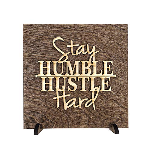 MannMade Designs Stay Humble Hustle Hard Wood Sign - New Handmade Wooden Sign