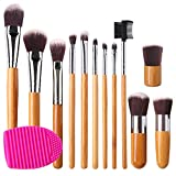 Beauty : BEAKEY Premium Makeup Brush Set, Durable Bamboo Handle Brushes Synthetic Kabuki Foundation Blending Eyeshadow Concealer Powder Brush Kit (12 Pcs Bamboo Brushes+ 1 pc Brush Egg+ 1 pc cloth bag)