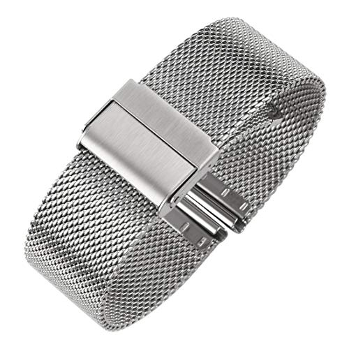 Luxury High-end Fashion Watch Mesh Band Metal Milanese Strap Deluxe Replacement Bracelet for Watch with Solid Safety Folding Clasp, 316L Stainless Steel, for Men & Women, Silver ()