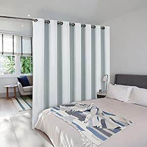 NICETOWN Room Dividers Curtains Screens Partitions Funtion Thermal Blackout Patio Door Curtain Panel, Sliding door insulated curtains,Extra Wide curtains, 8.3ft wide x 7ft long, Greyish White