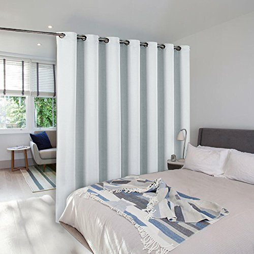 Room Divider Curtain Screen Partitions - NICETOWN Reduce Sunlight Grommet Top Contemporary Room Divider Curtain Panel For Furniture Protecting (Single Pack,8ft Tall x 8.3ft Wide,Greyish White)
