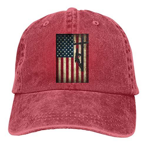 De Barbell Fleur Lis (American Flag Wireworker Denim Hat Adjustable Plain Cap Baseball Caps)