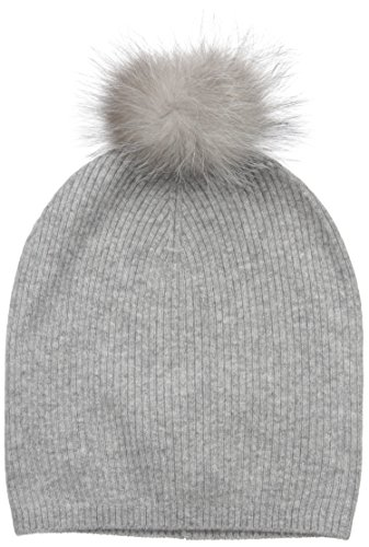 Sofia Cashmere Women's 100% Cashmere Slouchy Beanie With Indigo Fox Fur Pom, Elephant Grey, One Size by Sofia Cashmere