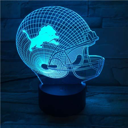 - 3 Pack,USB Table Desk Lamp 3D Light LED for Detroit Lions Football Cap Helmet, 7 Color Changing Touch Switch Light Home Decoration GX440