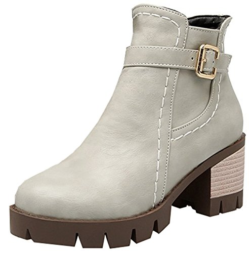 Easemax Women's Trendy Round Toe Chunky Mid Heel Platform Buckle Ankle High Boots With Zipper Grey DkjGe