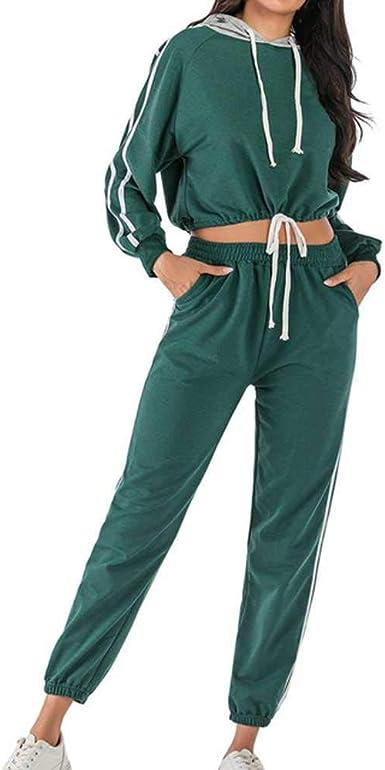 Chandal Mujeres Mujeres Manga Larga Sudadera Corta Con Estampado De Rayas Pantalones Largos Pantalon Largo Traje Deportes Para Mujeres Conjunto Loungewear Amazon Es Ropa Y Accesorios