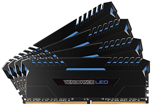 Corsair Vengeance LED 32GB (4x8GB) DDR4 3000 (PC4-24000) C15 for DDR4 Systems - Blue LED PC Memory (Xmp Quad Channel)
