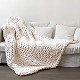 "Makaor 100X120cm Chunky Knit Blanket Merino Wool arm Knitted Throw Super Large Hand Knitting Yarn Pet Bed Chair Sofa Yoga Mat Rug (Beige, Size:100cmx120cm/39.4"" x47.3)"
