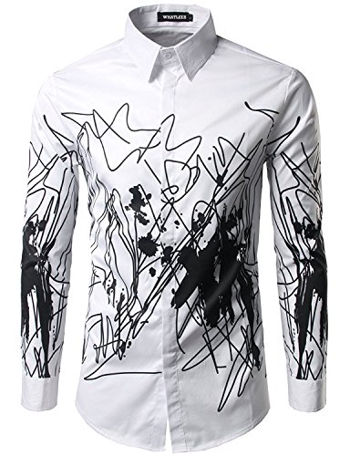 Mens Casual Hipster Printed Slim Fit Long Sleeve Dress Shirts Tops X-Large (Printed Hipster)