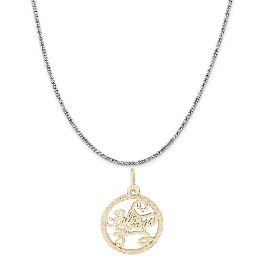 Rembrandt Charms Two-Tone Sterling Silver Palm Springs Disc Charm on a Sterling Silver 16 18 or 20 inch Rope Box or Curb Chain Necklace
