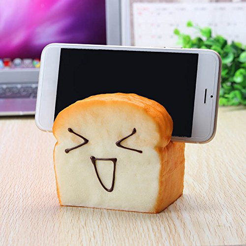 Jumbo Squishy 7 Seconds Slow Raising Slice Toast Joy Happy Faces Mobile Phone Seat Cellphone Holder by TTC STORE