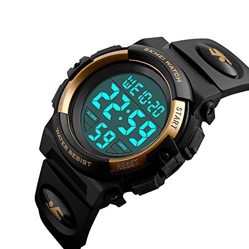 Boys Waterproof Outdoor Sports Watches,Skmei Electronic LED Digital Multifunction Girls Kids Wrist Watch,W/ Alarm Back Light (gold)