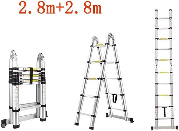 GLJJQMY - Escalera Plegable Recta para el hogar, Doble Escalera, portátil, telescópica, de bambú, de aleación de Aluminio Gruesa, Aleación de Aluminio, 2.5m+2.5m: Amazon.es: Hogar