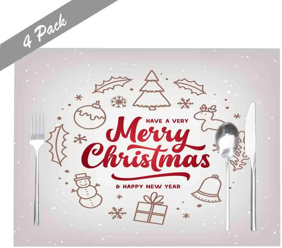 amazon com emmteey table placemats set of 4 merry christmas happy new year template lettering greeting card invitation winter holidays placemats for dining table placemats for kids placemats for round tables home kitchen amazon com