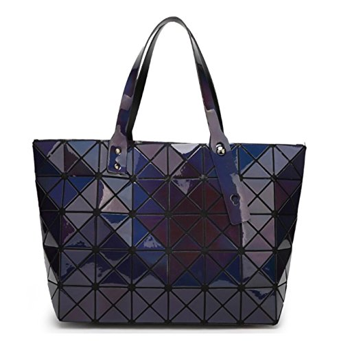 Kayers Sulliva Women's Fashion Geometric Diamond Lattice Tote Glossy PVC Shoulder Bag Top-handle Handbags by Kayers Sulliva