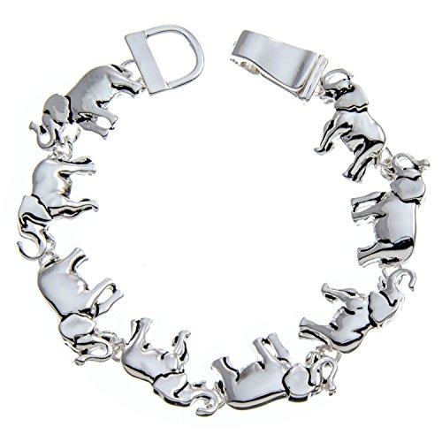 PammyJ Silvertone Shiny Multi Elephant Bracelet with Magnetic Closure