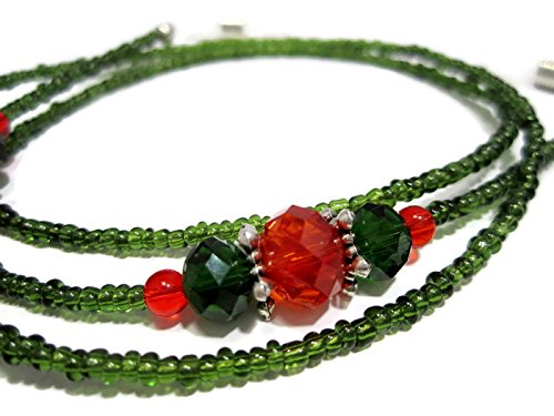 ATLanyards Christmas Beaded Eyeglass Holder with Green Seed Beads (Christmas Beaded Lanyards)