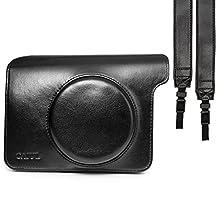 CAIUL Vintage Camera Case Bag For Fujifilm INSTAX Wide 300 Instant Camera, PU Leather, Black