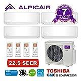 AlpicAir +Multi Quad Zone Ductless Mini-Split System 36,000 BTU Inverter Heat Pump (9k+9k+12k+12k)