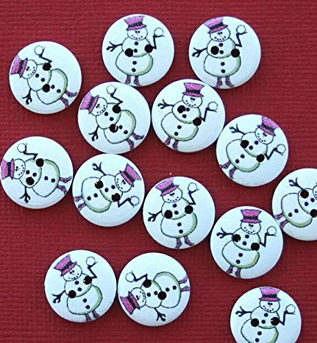 (20 Snowman Buttons Painted Wood Just Adorable Holding Snowball 15mm BUT239)