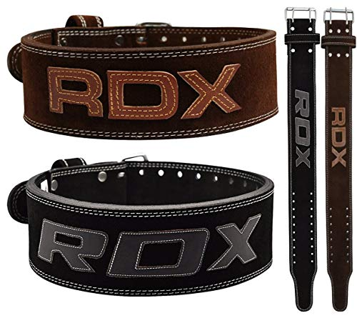 RDX Powerlifting Belt for Weight Lifting Gym Training - Double Prong Leather Belt 10mm Thick 4 Lumbar Back Support - Great for Strongman Functional Strength, Bodybuilding, Deadlifts Workout & Squats