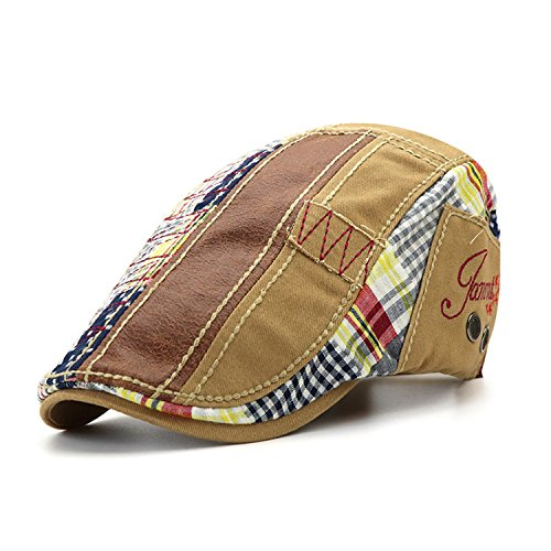 M MOACC Newsboy Hats for Men,Cotton Beret Cap Ivy Irish Cabbie Caps Driving Flat Hat Snap Adjustable Washed (Beige)