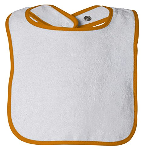 (Rabbit Skins Infant Cotton Terry Snap Bib, WHITE/GOLD, One Size )