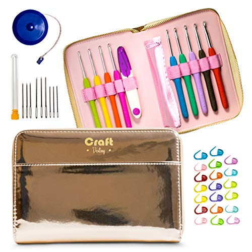 Crochet Hooks Set by Craft Destiny - Everything You Need in Exclusive Crochet Hook Case - 9 Ergonomic Hooks with US Size Engraved in The Handle - 31 pcs Crochet Accessories Kit - Rose Gold Style ()