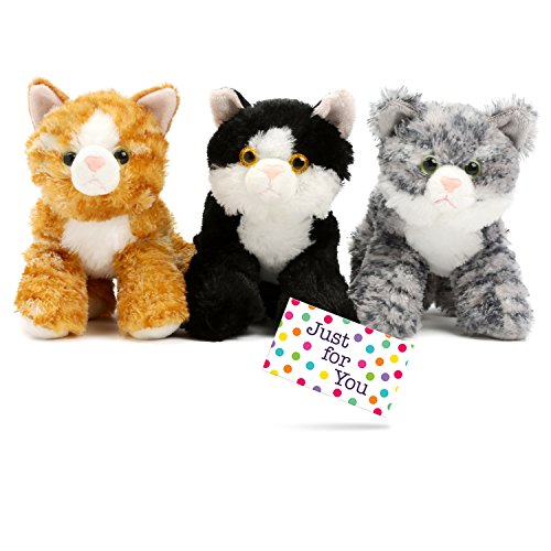 J4U Set of Three Mini Flopsie Cats with Gift Tag - One Each Lily, Molly, and (Brown Tabby Cat)