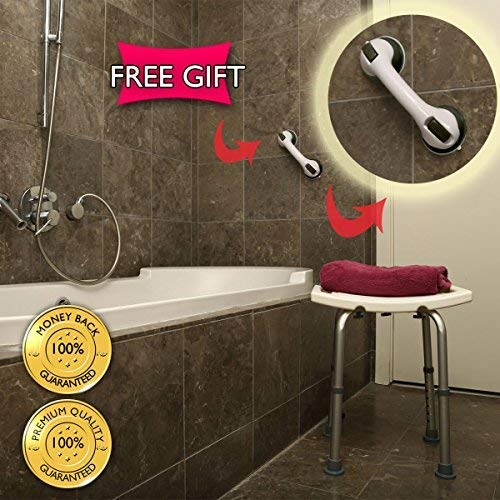 Dr. Maya Adjustable Bath and Shower Chair with Free Suction Assist Shower Handle Large White Anti-Slip Bench Bathtub Stool Seat with Aluminum Legs (Shower Chair)