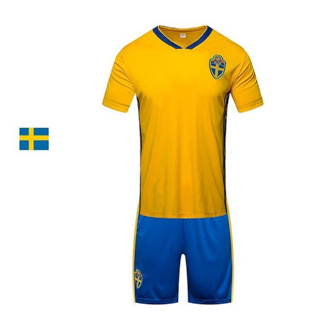 990ae13ada9 Amazon.com   Sykdybz 2018 Football Wear Sweden Home Adult Children S Junior  Jersey Set Training Team Wear Fans Souvenirs