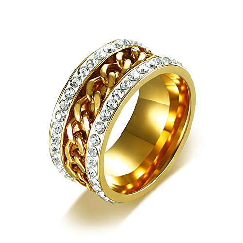 - AMDXD Jewelry Stainless Steel Wedding Rings for Men Women CZ 2 Rows Chain Shape Gold Ring 11MM Size 8