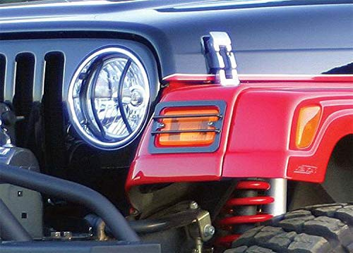 Rampage Euro Headlight - RAMPAGE PRODUCTS 5660 Black Euro Headlight Cover, 2 Piece for 1997-2006 Jeep Wrangler TJ