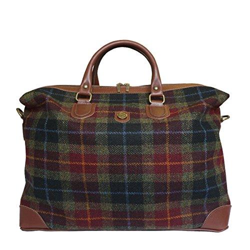 Bonfanti Leder und Harris Tweed Wochenende Kabine Tasche - Grün und Rot schottischen Tartan