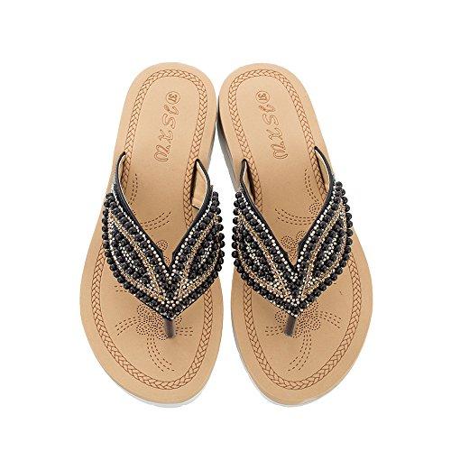 Qin&X Women's Casual Sandals Flat Heel Flip Flop Black