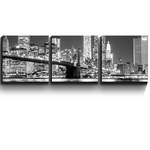 3 Square Panels Contemporary Art Black and white Manhattan Skyline and Brooklyn Bridge Three Gallery ped Printed Piece x3 Panels