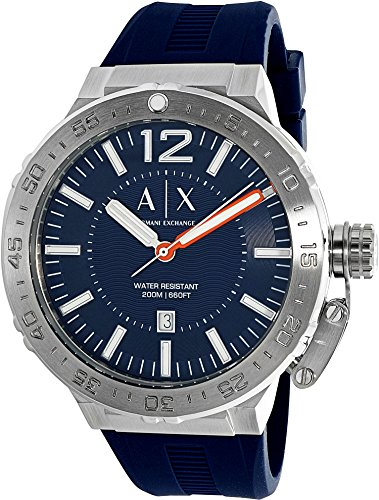 Armani Exchange Men's AX1812 Stainless Steel Blue Silicone Watch