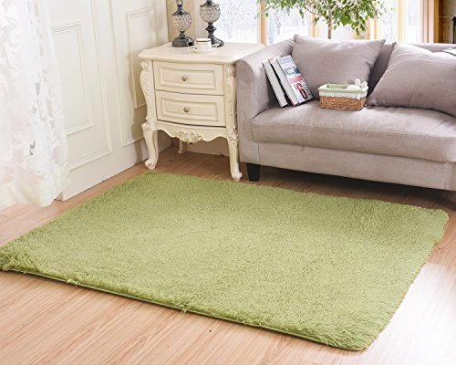 Living Room Bedroom Rugs, MBIGM Ultra Soft Modern Area Rugs Thick Shaggy Play Nursery Rug With Non-Slip Carpet Pad For Living Room Bedroom 4 Feet By 5.2 Feet, Tea Green by MBIGM