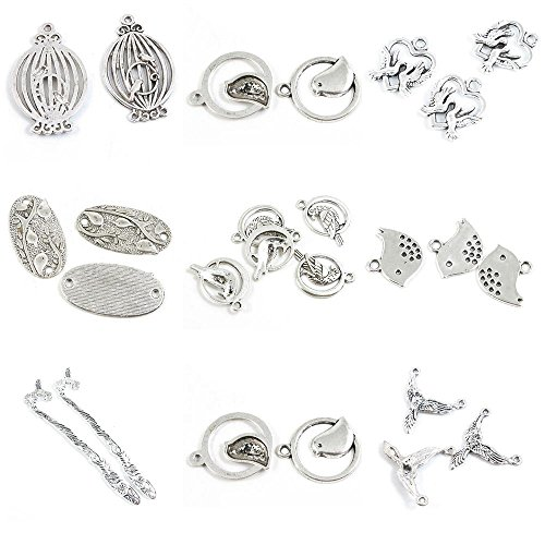 25 Pieces Antique Silver Tone Jewelry Making Charms Hummingbird Bird Connector Cute Stand Bookmark Hair Sticks Flat Birds Three Peace Pigeon Love Heart Cage Birdcage